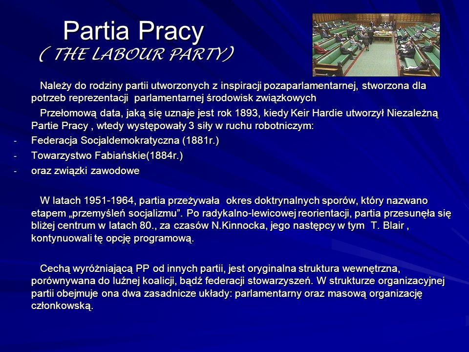 Partia Pracy ( THE LABOUR PARTY) Należy do rodziny partii utworzonych z inspiracji pozaparlamentarnej, stworzona dla potrzeb reprezentacji parlamentar