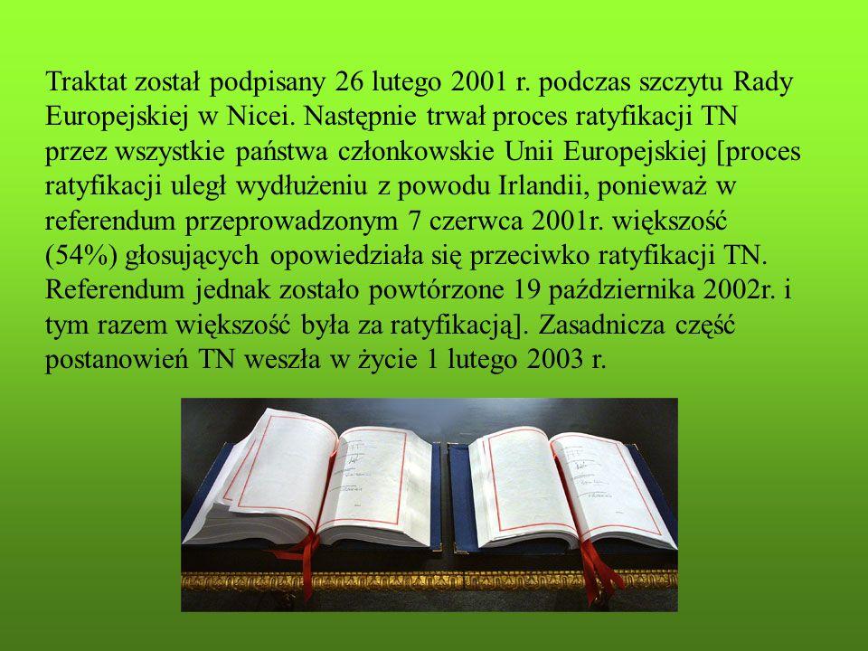 Traktat został podpisany 26 lutego 2001 r. podczas szczytu Rady Europejskiej w Nicei. Następnie trwał proces ratyfikacji TN przez wszystkie państwa cz