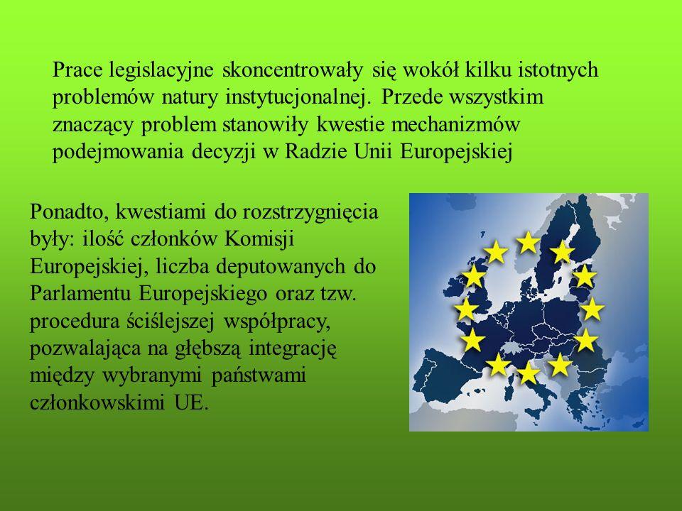 Ponadto, kwestiami do rozstrzygnięcia były: ilość członków Komisji Europejskiej, liczba deputowanych do Parlamentu Europejskiego oraz tzw. procedura ś