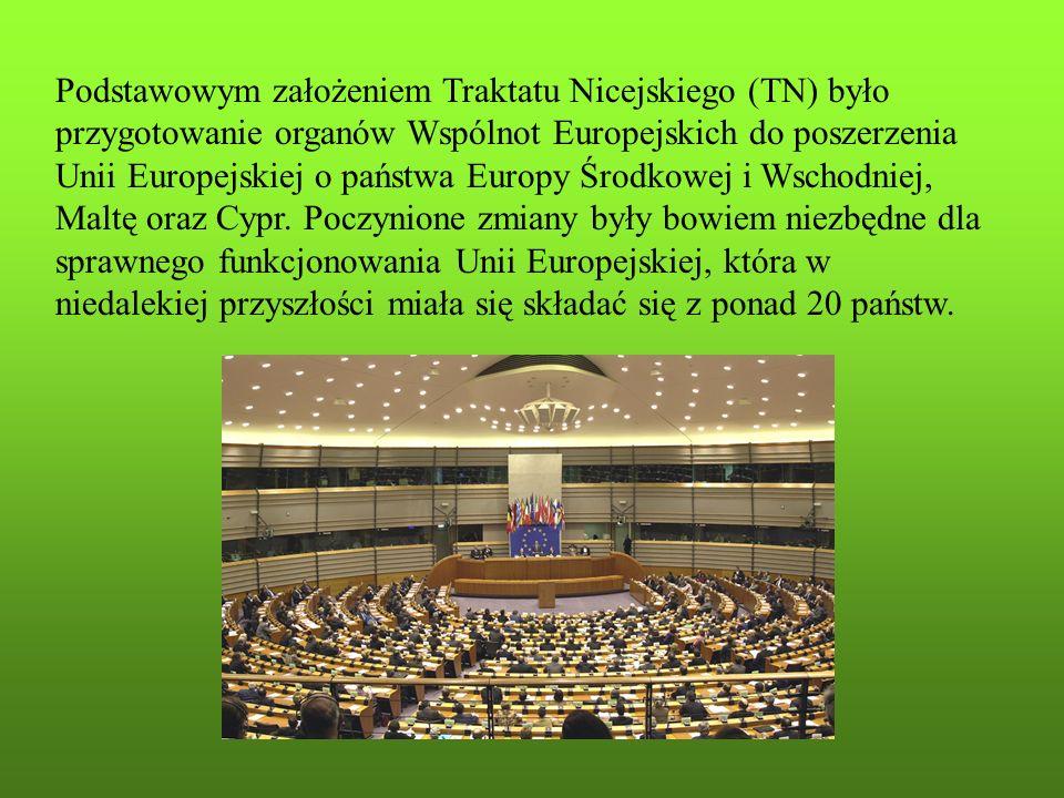 Najważniejsze postanowienia Traktatu Nicejskiego: Komisja Europejska od następnej kadencji ma składać się z liczby komisarzy równej liczbie krajów członkowskich (1 kraj = 1 komisarz).