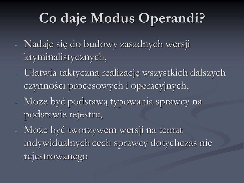 Co daje Modus Operandi? - Nadaje się do budowy zasadnych wersji kryminalistycznych, - Ułatwia taktyczną realizację wszystkich dalszych czynności proce