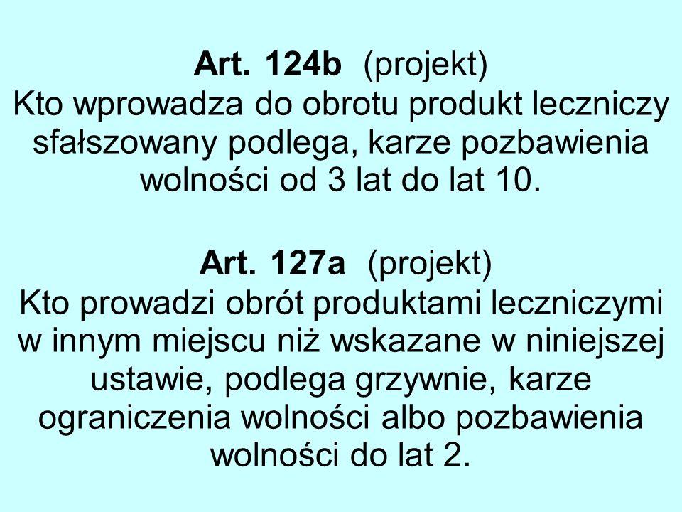 Art. 124b (projekt) Kto wprowadza do obrotu produkt leczniczy sfałszowany podlega, karze pozbawienia wolności od 3 lat do lat 10. Art. 127a (projekt)