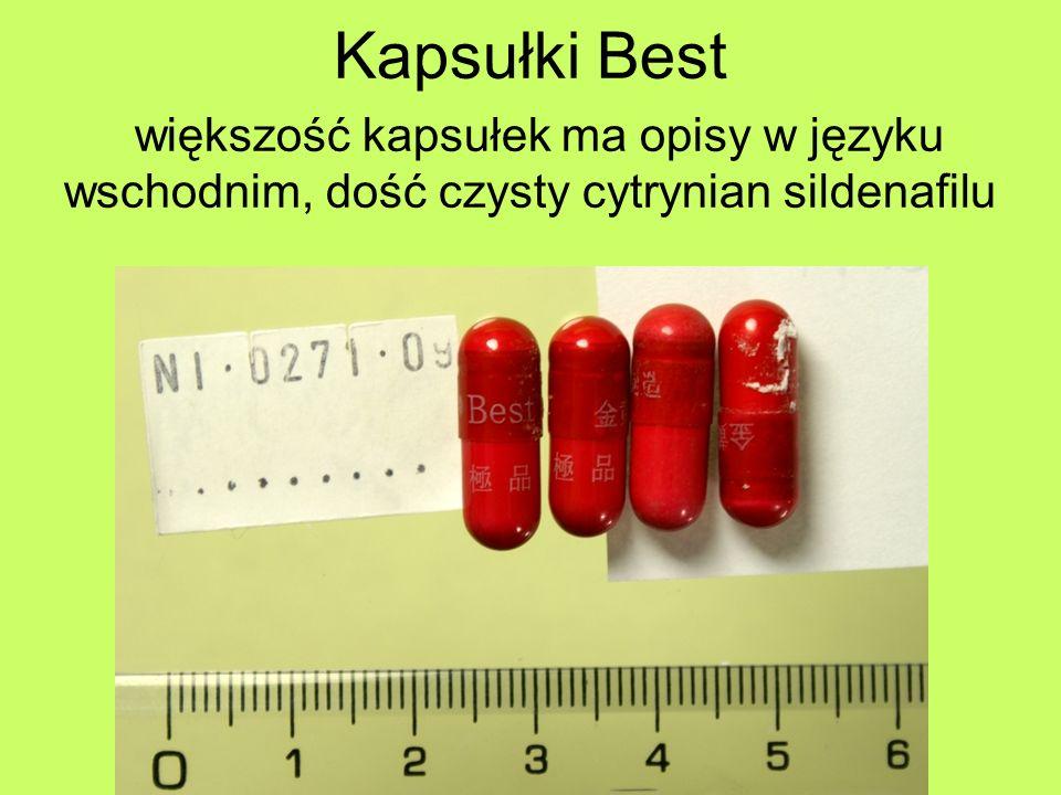 Kapsułki Best większość kapsułek ma opisy w języku wschodnim, dość czysty cytrynian sildenafilu