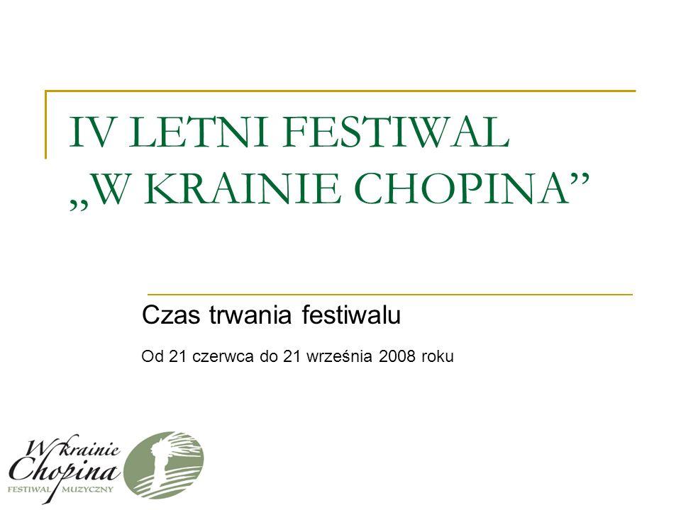 IV LETNI FESTIWAL W KRAINIE CHOPINA Czas trwania festiwalu Od 21 czerwca do 21 września 2008 roku
