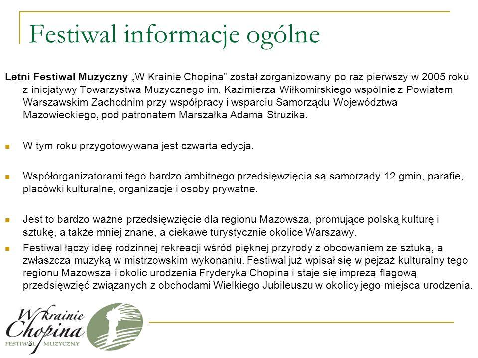 Festiwal informacje ogólne Letni Festiwal Muzyczny W Krainie Chopina został zorganizowany po raz pierwszy w 2005 roku z inicjatywy Towarzystwa Muzycznego im.