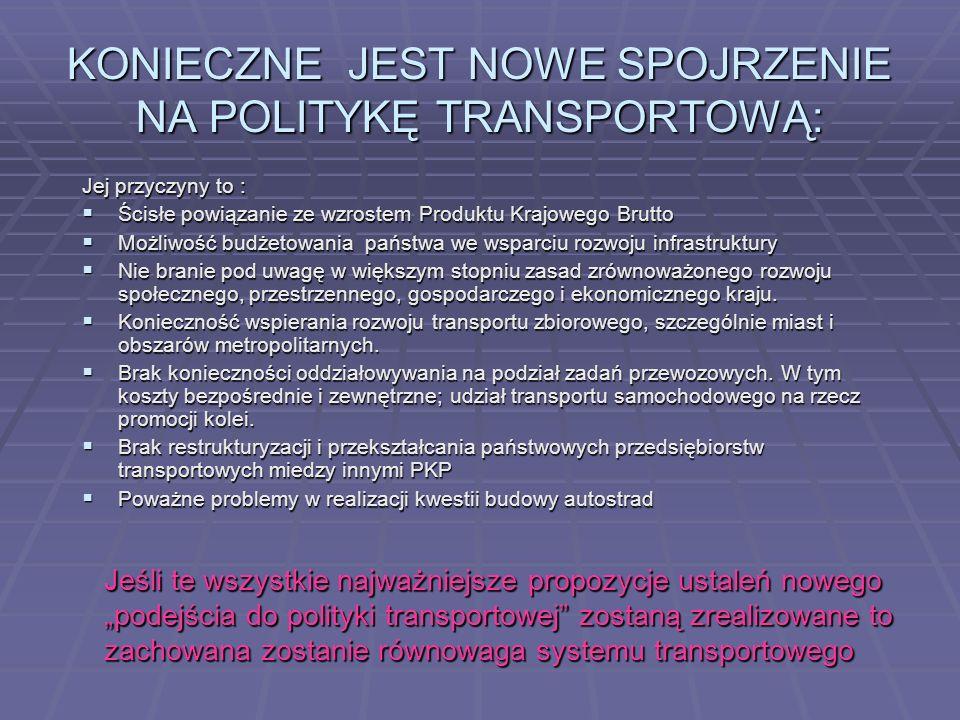 POLITYKA TRANPSORTOWA PAŃSTWA W KIERUNKU ZRÓWNOWAŻENIA ROZWOJU KRAJU ZE SZCZEGÓLYM UWZGLĘDNIENIEM TRANSPORTU ZBIROWEGO. Transport: jest usługą służącą
