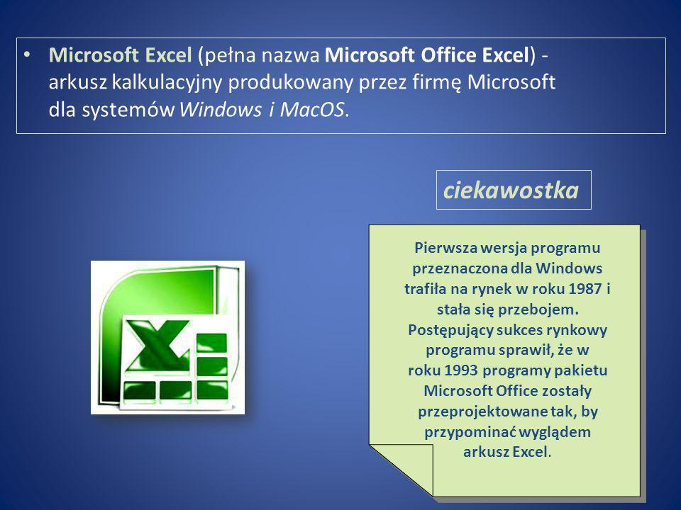 Microsoft Excel (pełna nazwa Microsoft Office Excel) - arkusz kalkulacyjny produkowany przez firmę Microsoft dla systemów Windows i MacOS.