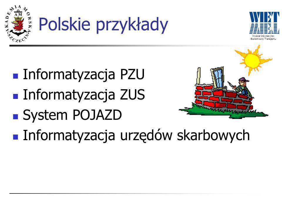 Wydział Inżynieryjno- Ekonomiczny Transportu Polskie przykłady Informatyzacja PZU Informatyzacja ZUS System POJAZD Informatyzacja urzędów skarbowych