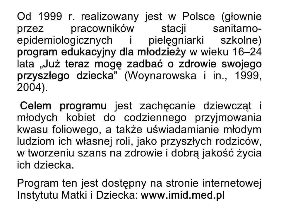 Od 1999 r. realizowany jest w Polsce (głownie przez pracowników stacji sanitarno- epidemiologicznych i pielęgniarki szkolne) program edukacyjny dla mł