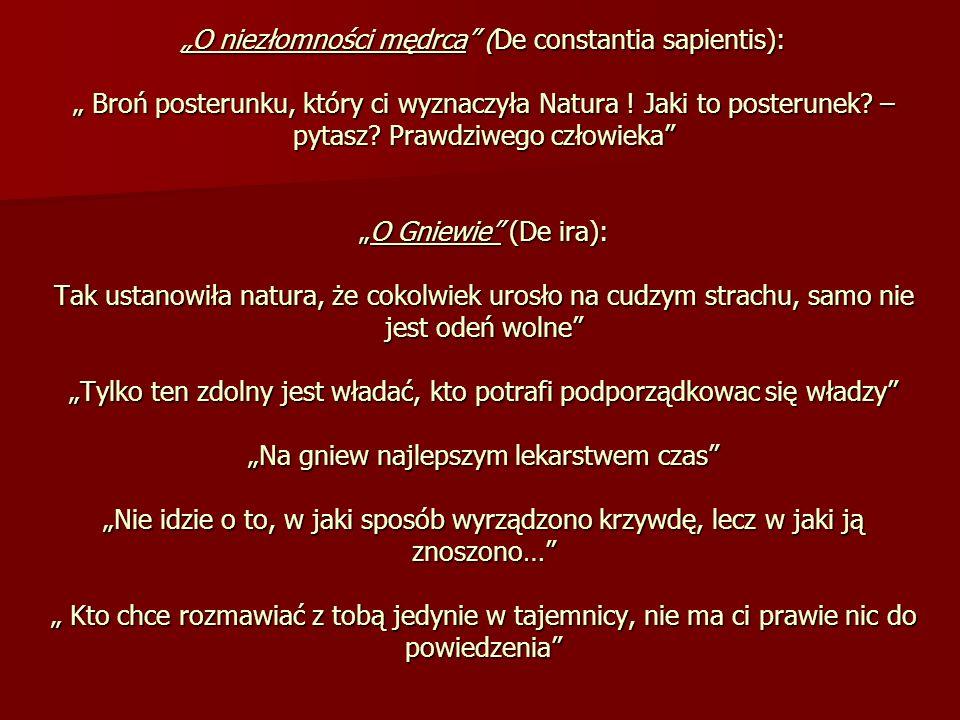 O niezłomności mędrca (De constantia sapientis): Broń posterunku, który ci wyznaczyła Natura ! Jaki to posterunek? – pytasz? Prawdziwego człowiekaO Gn