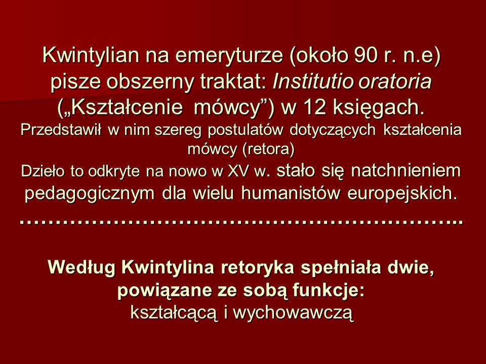 Kwintylian na emeryturze (około 90 r. n.e) pisze obszerny traktat: Institutio oratoria (Kształcenie mówcy) w 12 księgach. Przedstawił w nim szereg pos