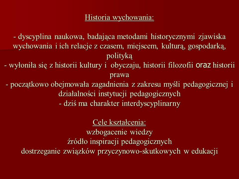 Historia wychowania: - dyscyplina naukowa, badająca metodami historycznymi zjawiska wychowania i ich relacje z czasem, miejscem, kulturą, gospodarką,