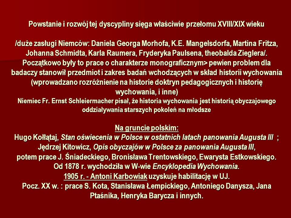 Powstanie i rozwój tej dyscypliny sięga właściwie przełomu XVIII/XIX wieku /duże zasługi Niemców: Daniela Georga Morhofa, K.E. Mangelsdorfa, Martina F
