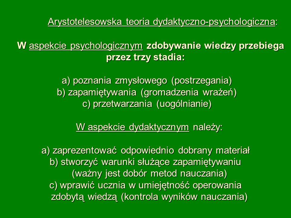 Arystotelesowska teoria dydaktyczno-psychologiczna: W aspekcie psychologicznym zdobywanie wiedzy przebiega przez trzy stadia: a) poznania zmysłowego (