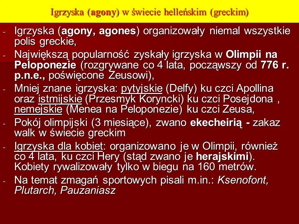 Igrzyska (agony) w świecie helleńskim (greckim) - Igrzyska (agony, agones) organizowały niemal wszystkie polis greckie, - Największą popularność zyska