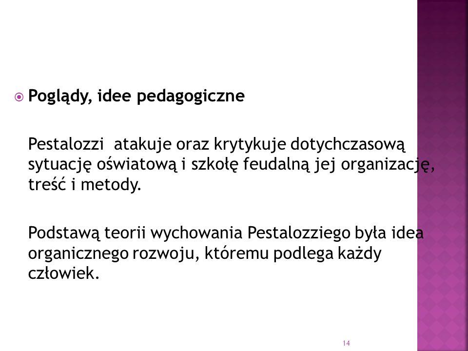 14 Poglądy, idee pedagogiczne Pestalozzi atakuje oraz krytykuje dotychczasową sytuację oświatową i szkołę feudalną jej organizację, treść i metody. Po