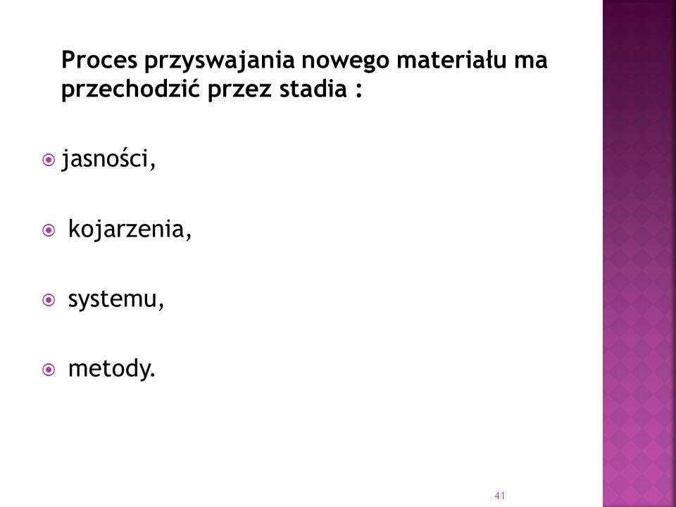 Proces przyswajania nowego materiału ma przechodzić przez stadia : jasności, kojarzenia, systemu, metody. 41