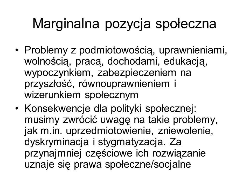 Marginalna pozycja społeczna Problemy z podmiotowością, uprawnieniami, wolnością, pracą, dochodami, edukacją, wypoczynkiem, zabezpieczeniem na przyszł