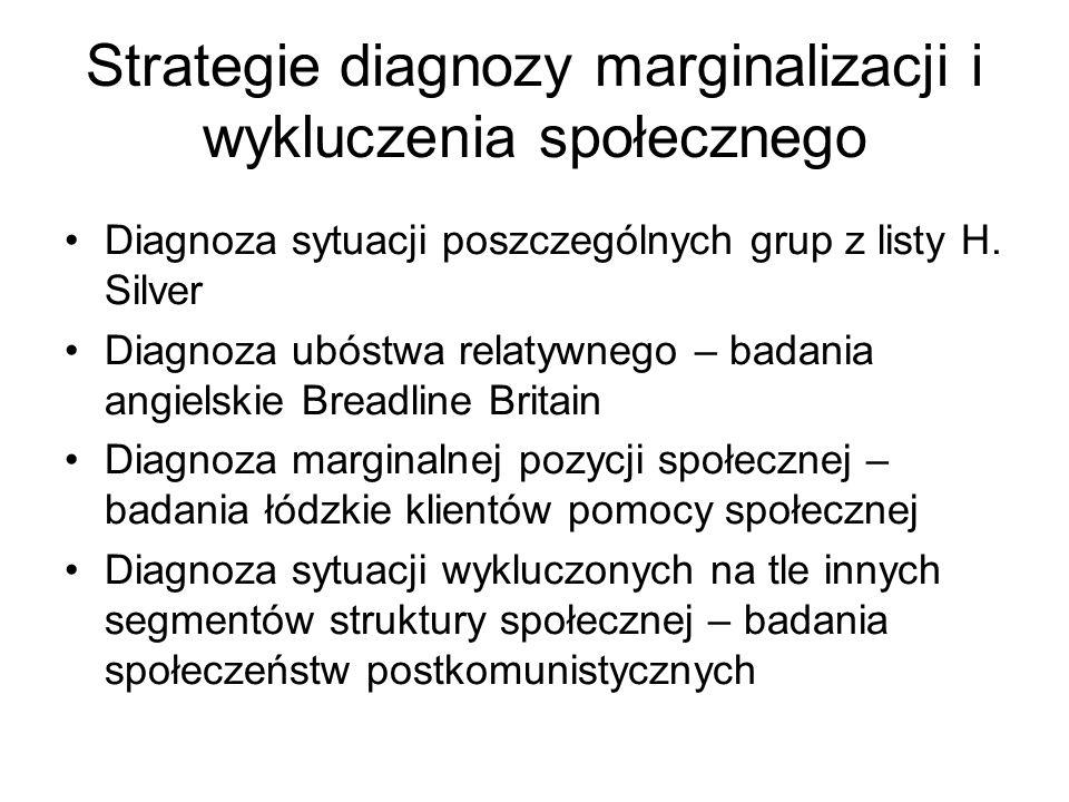 Strategie diagnozy marginalizacji i wykluczenia społecznego Diagnoza sytuacji poszczególnych grup z listy H. Silver Diagnoza ubóstwa relatywnego – bad