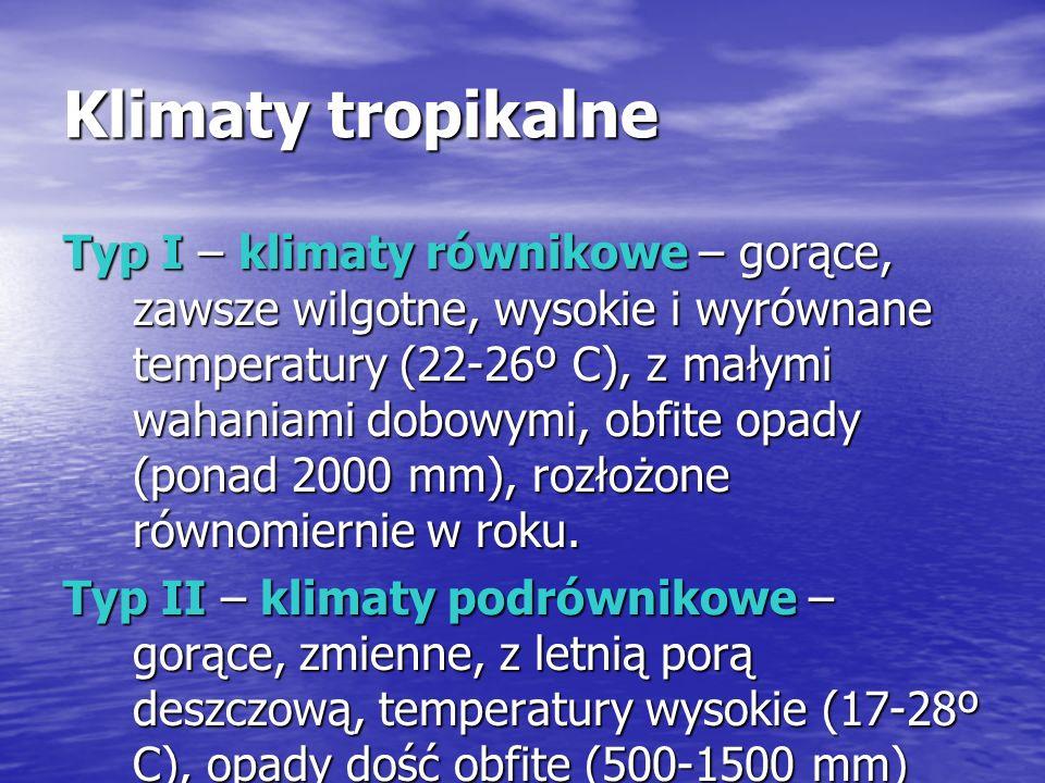 Klimaty tropikalne Typ I – klimaty równikowe – gorące, zawsze wilgotne, wysokie i wyrównane temperatury (22-26º C), z małymi wahaniami dobowymi, obfite opady (ponad 2000 mm), rozłożone równomiernie w roku.