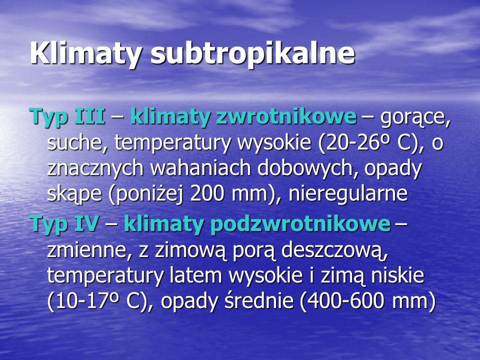 Klimaty subtropikalne Typ III – klimaty zwrotnikowe – gorące, suche, temperatury wysokie (20-26º C), o znacznych wahaniach dobowych, opady skąpe (poniżej 200 mm), nieregularne Typ IV – klimaty podzwrotnikowe – zmienne, z zimową porą deszczową, temperatury latem wysokie i zimą niskie (10-17º C), opady średnie (400-600 mm)