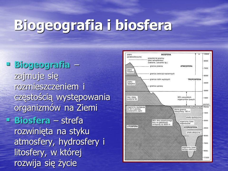 Biogeografia i biosfera Biogeografia – zajmuje się rozmieszczeniem i częstością występowania organizmów na Ziemi Biogeografia – zajmuje się rozmieszczeniem i częstością występowania organizmów na Ziemi Biosfera – strefa rozwinięta na styku atmosfery, hydrosfery i litosfery, w której rozwija się życie Biosfera – strefa rozwinięta na styku atmosfery, hydrosfery i litosfery, w której rozwija się życie