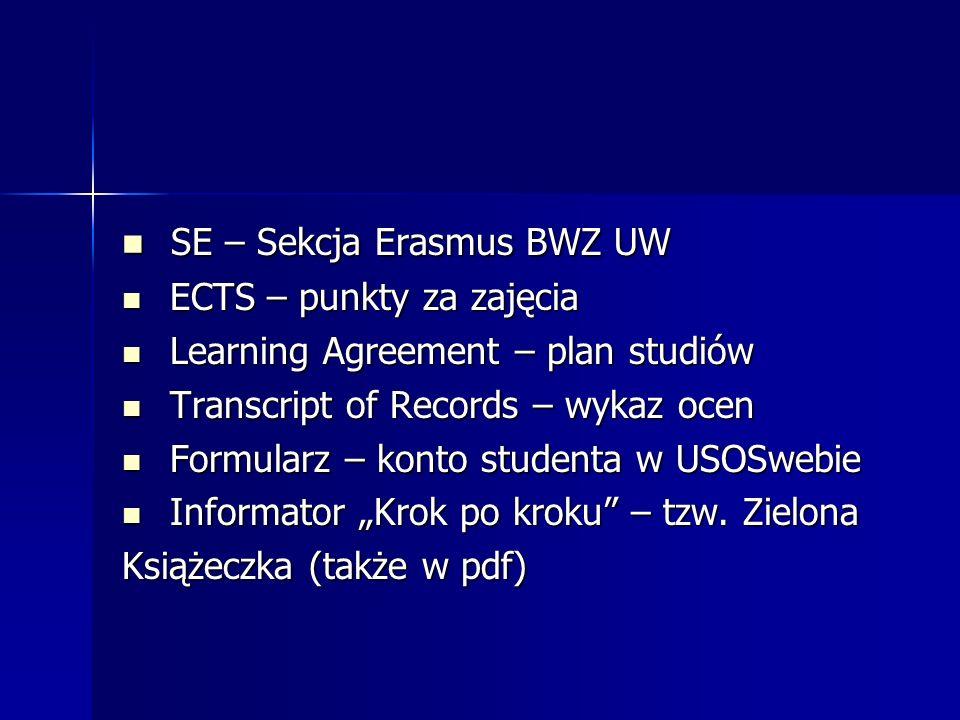 SE – Sekcja Erasmus BWZ UW SE – Sekcja Erasmus BWZ UW ECTS – punkty za zajęcia ECTS – punkty za zajęcia Learning Agreement – plan studiów Learning Agr
