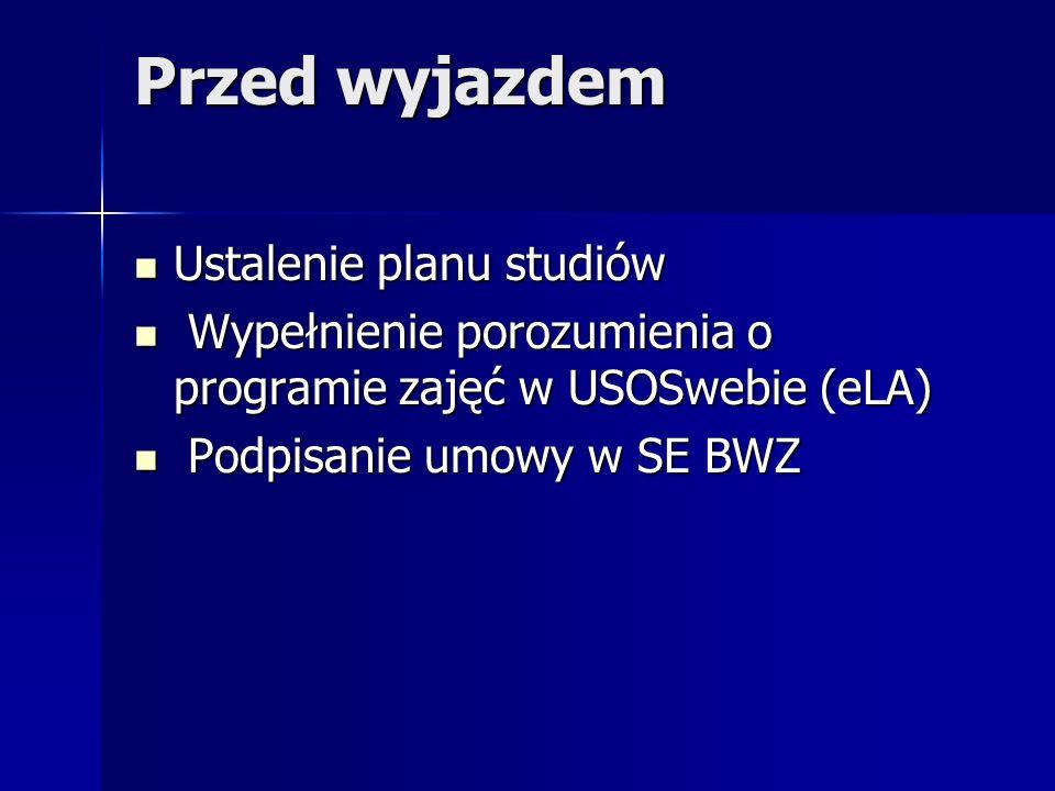 Przed wyjazdem Ustalenie planu studiów Ustalenie planu studiów Wypełnienie porozumienia o programie zajęć w USOSwebie (eLA) Wypełnienie porozumienia o