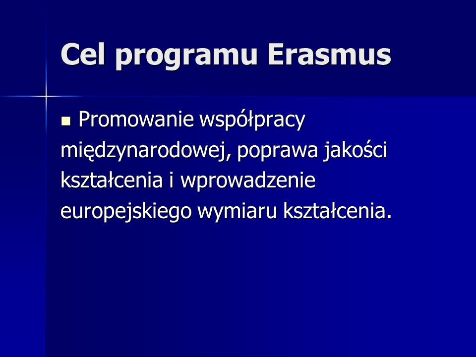 Cel programu Erasmus Promowanie współpracy Promowanie współpracy międzynarodowej, poprawa jakości kształcenia i wprowadzenie europejskiego wymiaru ksz