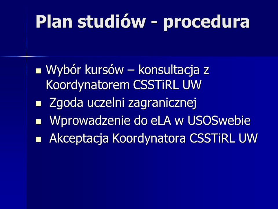 Plan studiów - procedura Wybór kursów – konsultacja z Koordynatorem CSSTiRL UW Wybór kursów – konsultacja z Koordynatorem CSSTiRL UW Zgoda uczelni zag