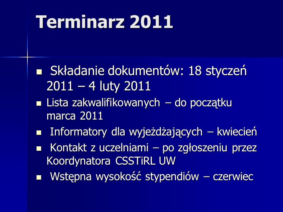 Terminarz 2011 Składanie dokumentów: 18 styczeń 2011 – 4 luty 2011 Składanie dokumentów: 18 styczeń 2011 – 4 luty 2011 Lista zakwalifikowanych – do po