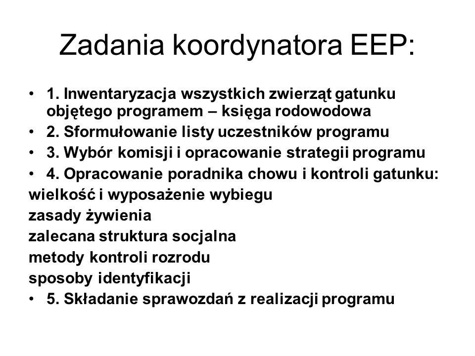 Zadania koordynatora EEP: 1. Inwentaryzacja wszystkich zwierząt gatunku objętego programem – księga rodowodowa 2. Sformułowanie listy uczestników prog