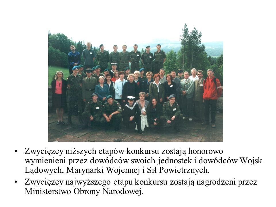 Zwycięzcy niższych etapów konkursu zostają honorowo wymienieni przez dowódców swoich jednostek i dowódców Wojsk Lądowych, Marynarki Wojennej i Sił Pow
