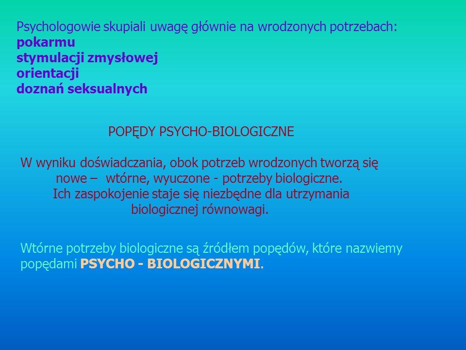 Psychologowie skupiali uwagę głównie na wrodzonych potrzebach: pokarmu stymulacji zmysłowej orientacji doznań seksualnych POPĘDY PSYCHO-BIOLOGICZNE W