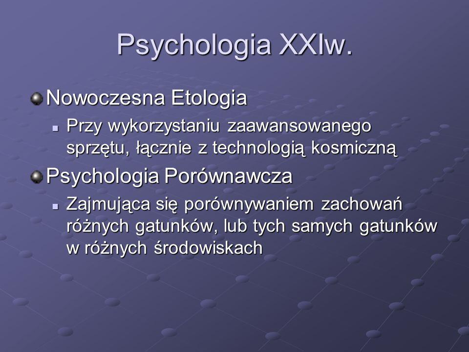Psychologia XXIw. Nowoczesna Etologia Przy wykorzystaniu zaawansowanego sprzętu, łącznie z technologią kosmiczną Przy wykorzystaniu zaawansowanego spr