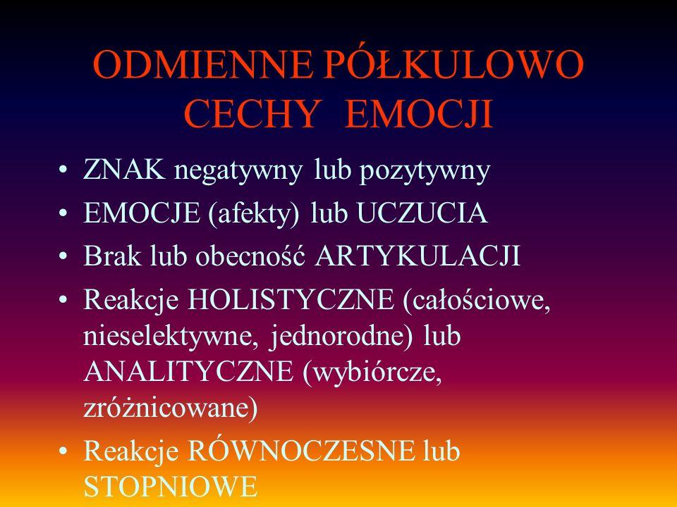 ODMIENNE PÓŁKULOWO CECHY EMOCJI ZNAK negatywny lub pozytywny EMOCJE (afekty) lub UCZUCIA Brak lub obecność ARTYKULACJI Reakcje HOLISTYCZNE (całościowe