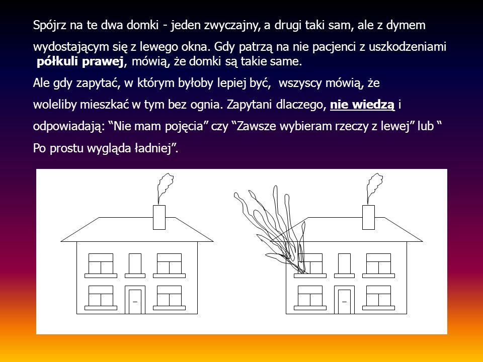 Spójrz na te dwa domki - jeden zwyczajny, a drugi taki sam, ale z dymem wydostającym się z lewego okna. Gdy patrzą na nie pacjenci z uszkodzeniami pół