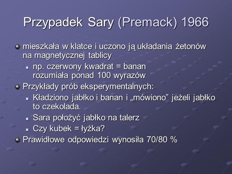 Przypadek Lany (Rumbaugh, 1977-1980) Lana - trening w modelu Sary Klatka to pokój z klawiaturą komputera na całą ścianę od 1971 roku uczona symboli na klawiaturze Klawiatura sprzężona jest z automatem wydawania rzeczy