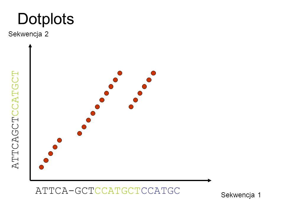Dotplots Sekwencja 1 Sekwencja 2 ATTCA-GCTCCATGCTCCATGC ATTCAGCT CCATGCT