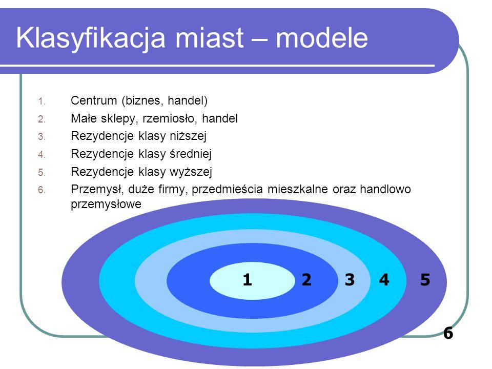 Klasyfikacja miast – modele teoria sektorów Hoyt 1939 opisał w tym modelu 142 miasta