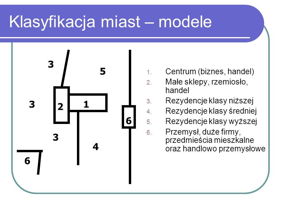 Klasyfikacja miast – modele 1. Centrum (biznes, handel) 2. Małe sklepy, rzemiosło, handel 3. Rezydencje klasy niższej 4. Rezydencje klasy średniej 5.