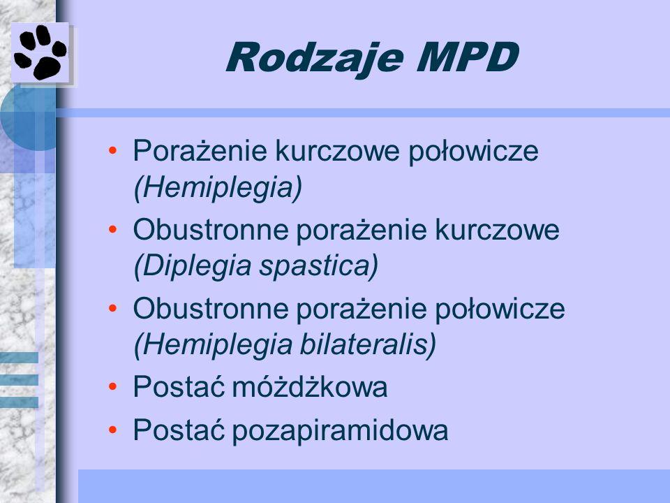 Rodzaje MPD Porażenie kurczowe połowicze (Hemiplegia) Obustronne porażenie kurczowe (Diplegia spastica) Obustronne porażenie połowicze (Hemiplegia bil