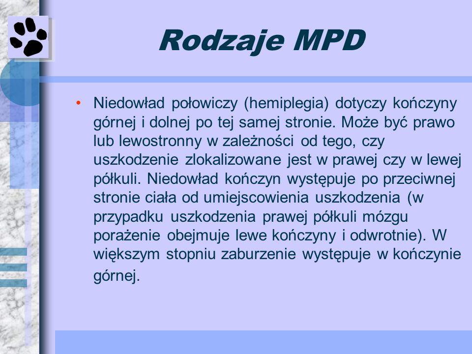 Rodzaje MPD Niedowład połowiczy (hemiplegia) dotyczy kończyny górnej i dolnej po tej samej stronie. Może być prawo lub lewostronny w zależności od teg