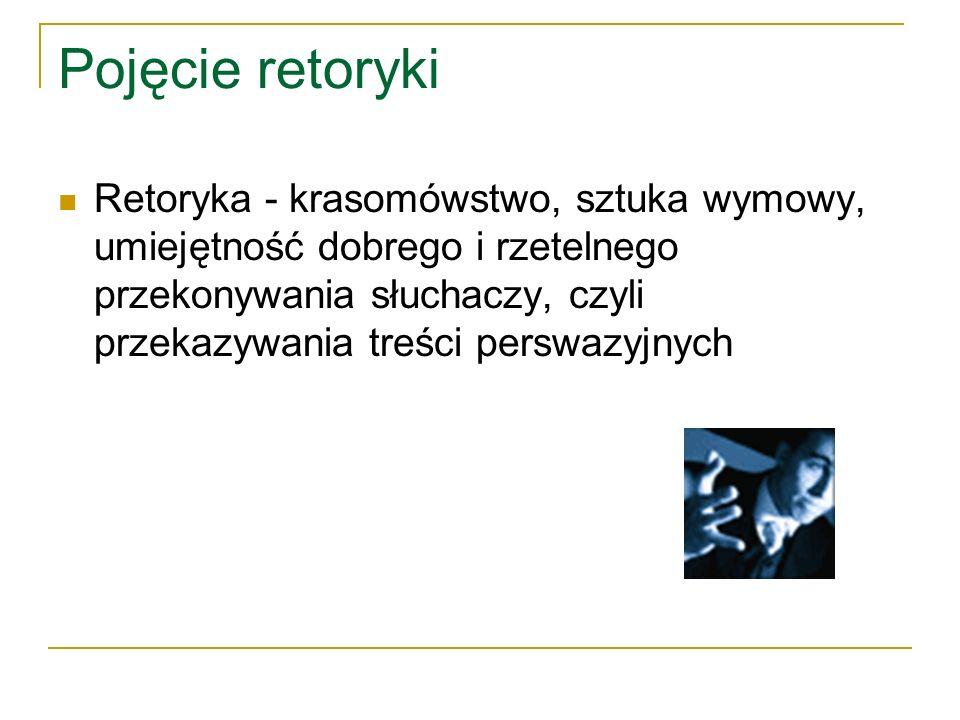 Cel retoryki Cel retoryki jest praktyczny - nauczyć operowania słowem tak, aby miało ono moc perswazyjną.