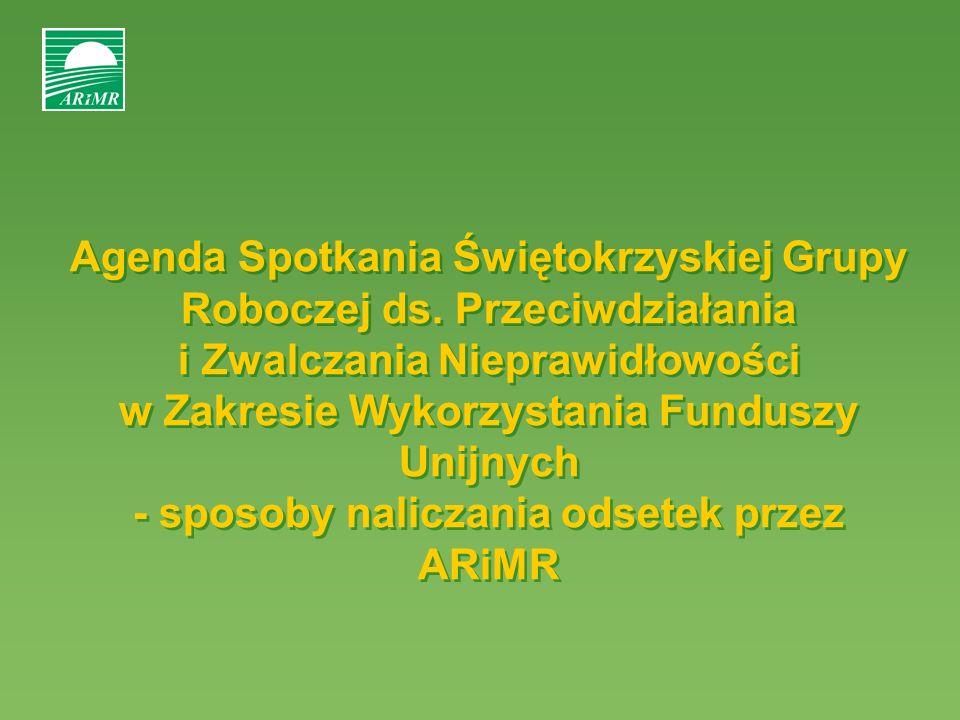 Agenda Spotkania Świętokrzyskiej Grupy Roboczej ds. Przeciwdziałania i Zwalczania Nieprawidłowości w Zakresie Wykorzystania Funduszy Unijnych - sposob