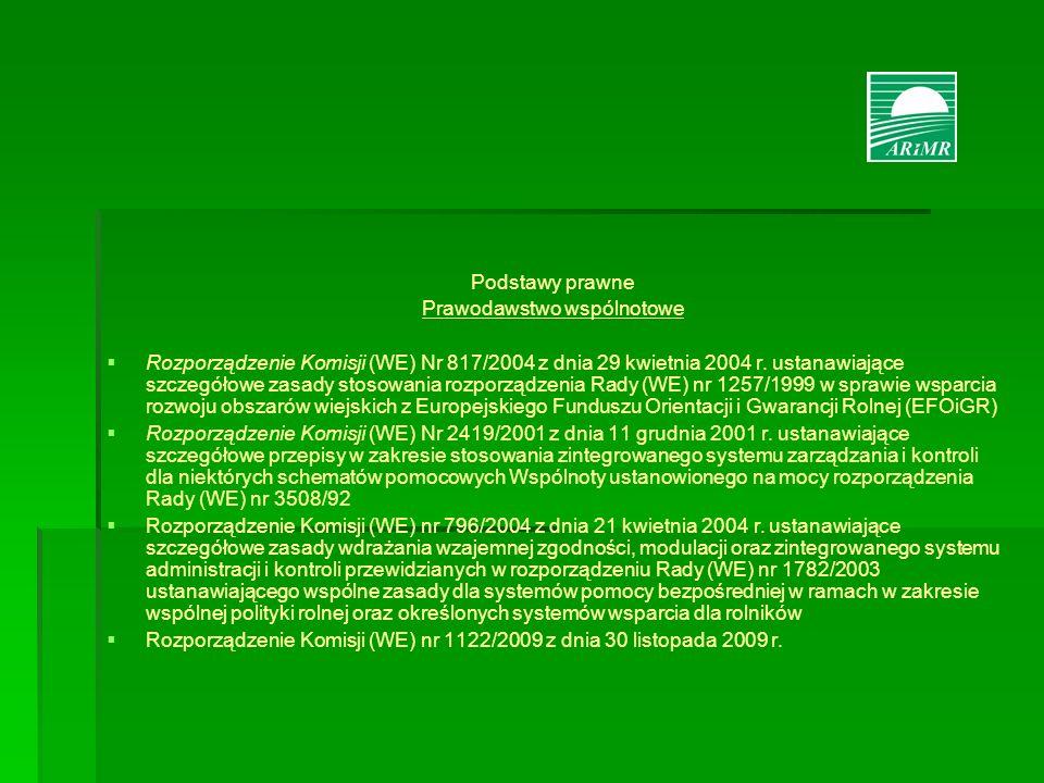 Podstawy prawne Prawodawstwo wspólnotowe Rozporządzenie Komisji (WE) Nr 817/2004 z dnia 29 kwietnia 2004 r. ustanawiające szczegółowe zasady stosowani