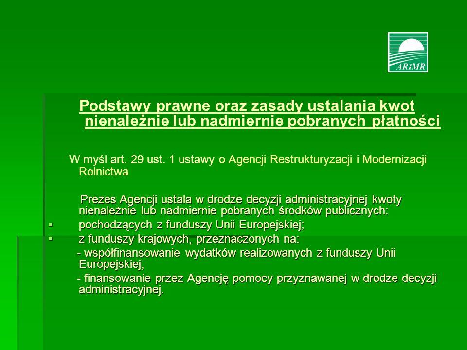 Podstawy prawne oraz zasady ustalania kwot nienależnie lub nadmiernie pobranych płatności W myśl art. 29 ust. 1 ustawy o Agencji Restrukturyzacji i Mo
