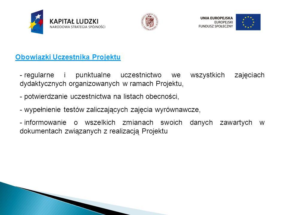 Obowiązki Uczestnika Projektu - regularne i punktualne uczestnictwo we wszystkich zajęciach dydaktycznych organizowanych w ramach Projektu, - potwierd