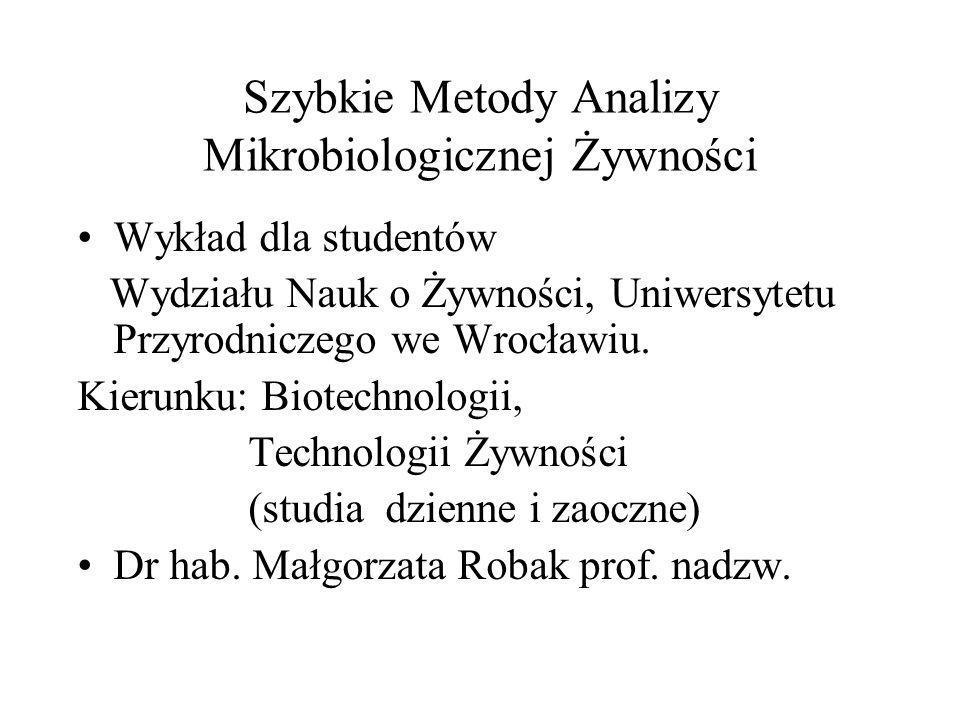 Szybkie Metody Analizy Mikrobiologicznej Żywności Wykład dla studentów Wydziału Nauk o Żywności, Uniwersytetu Przyrodniczego we Wrocławiu.