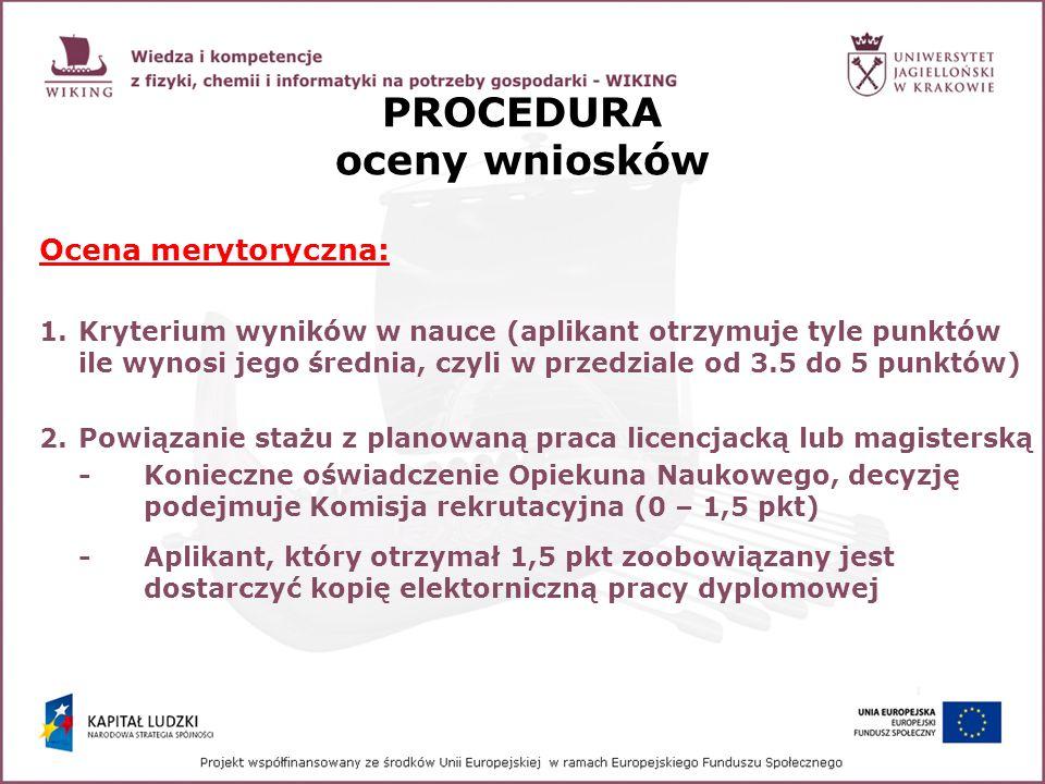PROCEDURA oceny wniosków Ocena merytoryczna: 1.Kryterium wyników w nauce (aplikant otrzymuje tyle punktów ile wynosi jego średnia, czyli w przedziale